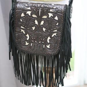 Tooled Leather Fringe Bag Purse Montana West Biker